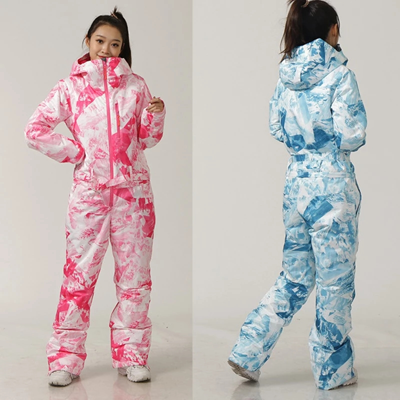 Women Ski Set One-Piece Ski Jumpsuit Outdoor Sports Snowboard Jacket Warm Jumpsuit Waterproof Winter Clothing Coveralls Hooded