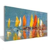 Drop shipping hand painted Wall Art Canvas picture Seascape oil paintings Wall Picture for Living Room Boat Sea Canvas Painting