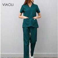 Viaoli women and men Medical Uniforms Nursing Scrubs Clothes Short Sleeve coat Doctor Clothing Brush hand clothing v collar
