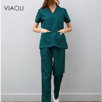 Viaoli women and men Medical Uniforms Nursing Scrubs Clothes Short Sleeve coat Doctor Clothing Brush hand clothing v collar