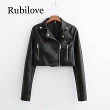 Rubilove European and American fashion short locomotive leather jacket