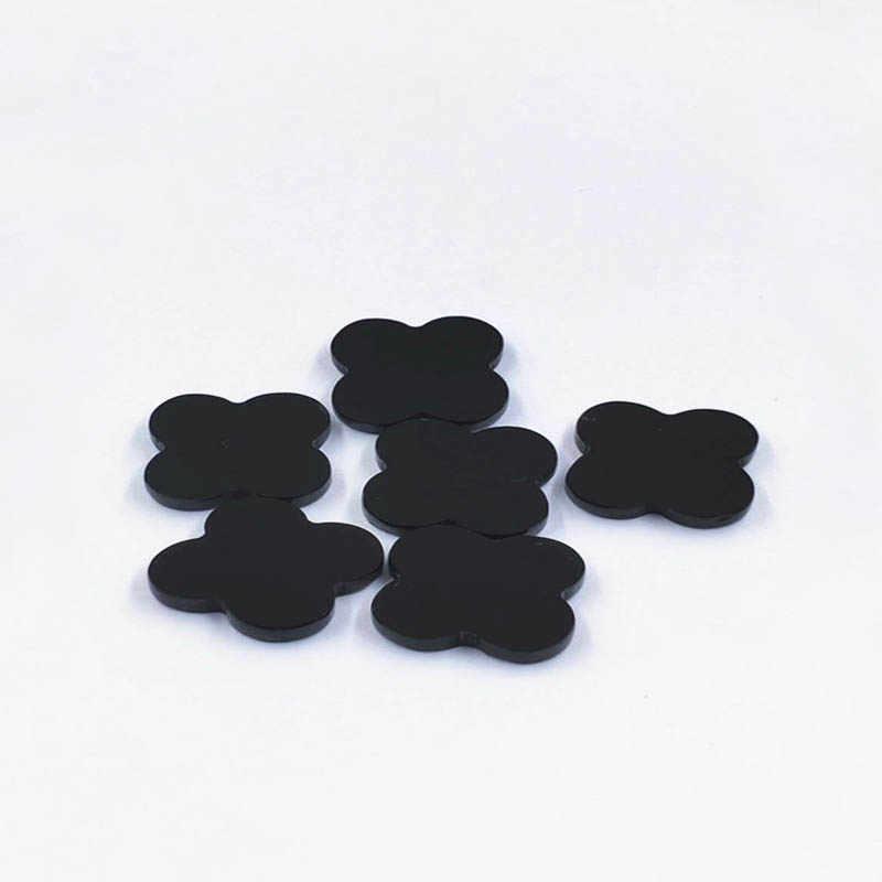 ใหม่แบนสี่ leaf Clover สีดำ Agate Cabochons หินธรรมชาติ Cabochon CABs 6 มม.8 มม.10 มม.12 มม. 16mm 18mm 20mm DIY เครื่องประดับทำ
