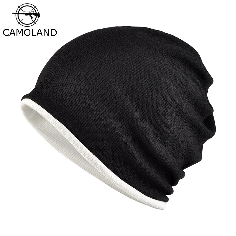CAMOLAND Fashion Skullies Beanie For Male Autumn Winter Bonnet Mask Warm Fleece Cap Mens Outdoor Sports Beanie Hats