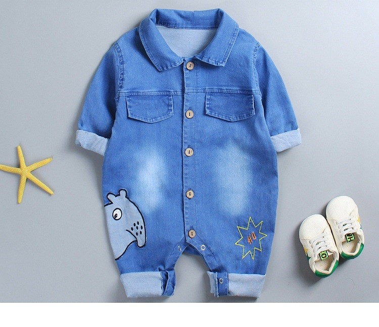 Casual Denim Baby Rompers