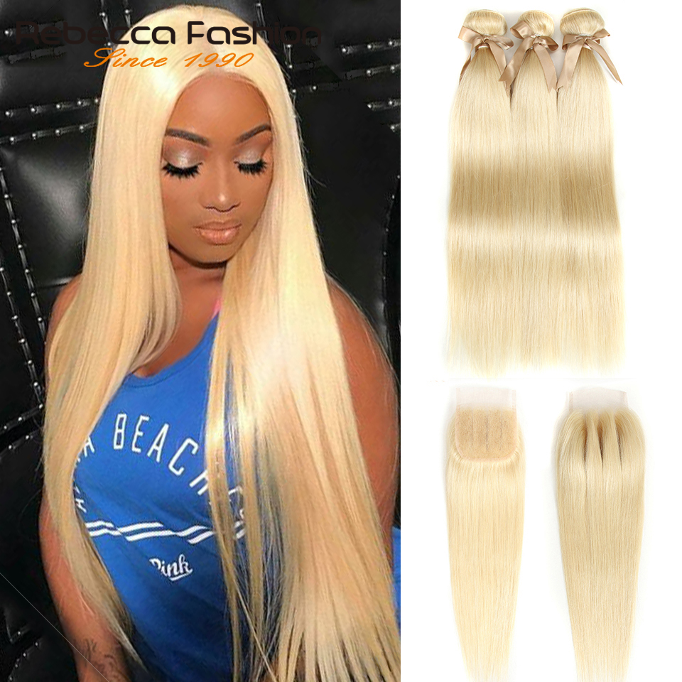 Rebecca 613 Bundles With Closure Brazilian Remy Straight Human Hair Honey Blonde Weave 3 Bundles With Closure