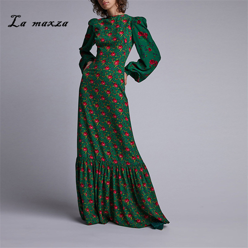 Большие размеры 2019 женские осенние платья винтажные Сексуальные вечерние платья с принтом элегантное модное платье макси с длинным рукавом|Платья|   | АлиЭкспресс