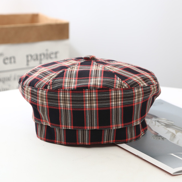 Plaid Beret Hat Women's...
