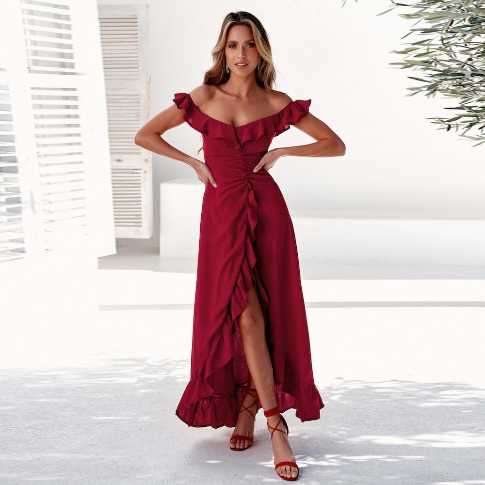 Sexy Burgundy Prom Dresses V-Neck Ruffles Off Shoulder Asymmetrical Side Split Ruched Long Party Gowns Vestido De Festa 2020