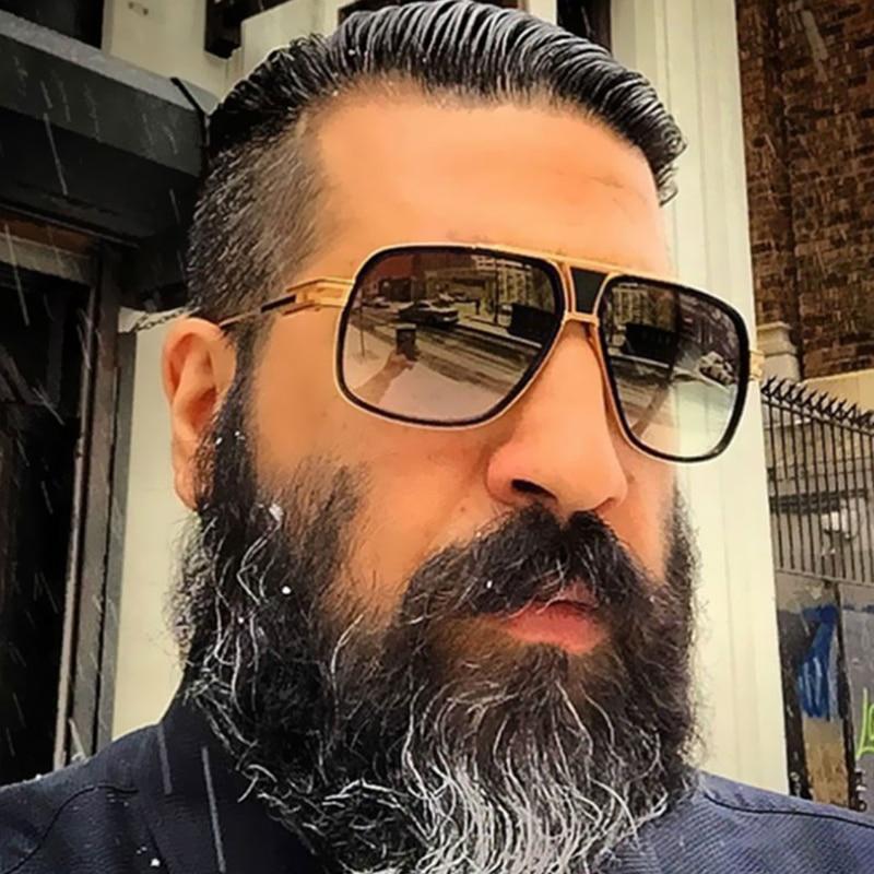 Retro Metal gradient square frame sunglasses Women/Men brand designer vintage Oversized black shades sun glasses Oculos De Sol