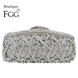 Image 1 - Boutique De FGG Hollow Out Crystal Women Clutches Evening Bags Wedding Party Cocktail Metal Minaudiere Diamond Handbag and Purse