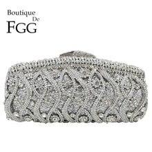 Boutique De FGG embragues De cristal ahuecados para mujer, bolsos De noche para fiesta De boda, cóctel, bolso De mano De Metal Minaudiere con diamantes y monedero