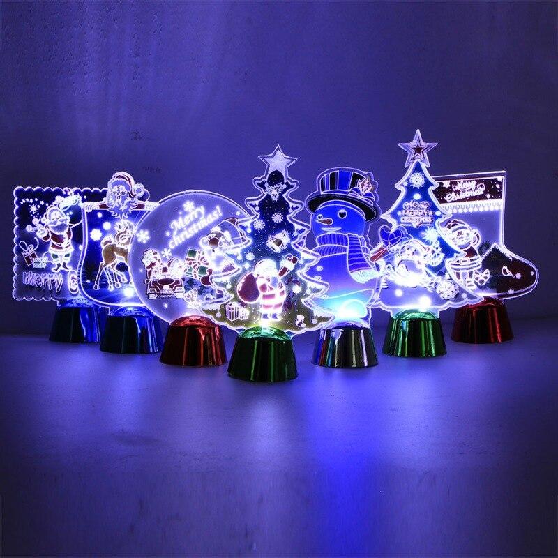 Colorido 3D luz de la noche de dibujos animados Navidad lámpara LED decoraciones de Navidad para el hogar regalo de Año Nuevo bola de cristal brillante