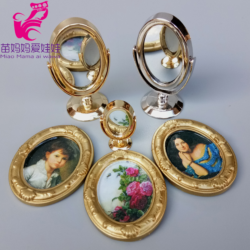 Mini 1/6 Bjd Doll House Accessories Mininature Simulation Desktop Vanity Mirror Oval Oil Painting Mini Tea Set For Barbie Doll