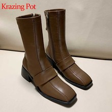Krazing pot winter stretch stof ronde neus dikke med hakken high street fashion runway merk schoenen Hollywood mid-kalf laarzen l70(China)