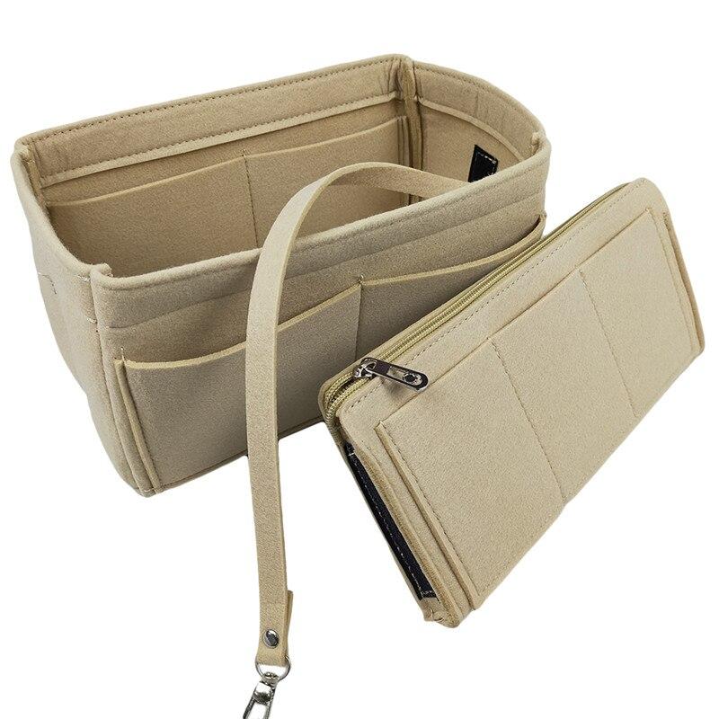 1 шт. органайзер для макияжа войлочная ткань вставка сумка для путешествий Внутренний кошелек портативные косметички большая емкость сумка для хранения Корзины для хранения      АлиЭкспресс
