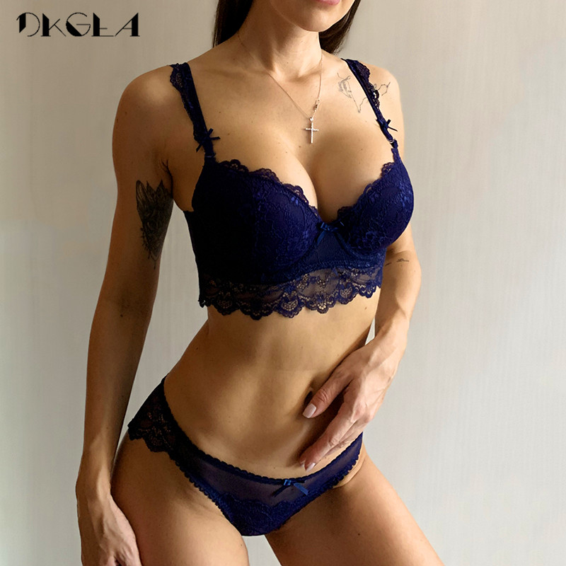 Super Gather Bras Women Underwear Set Cotton Blue Sexy Bra Set Push Up Thick Brassiere Lace Embroidery Lingerie Set A B C Cup