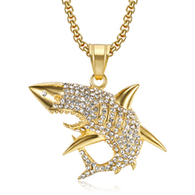 Hip Hop Iced Out Bling Ocean Shark Pendants Necklaces For Men Gold Color Stainless Steel CZ Animal Necklace Jewelry Dropshipping hip hop iced out bling horse head pendants necklaces for men gold color stainless steel round cz necklace jewelry dropshipping