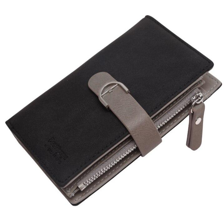 Новейший женский кожаный винтажный кошелек, брендовый дизайнерский кошелек на молнии для монет, кошельки, держатель для карт, клатч для девочек - Цвет: Черный
