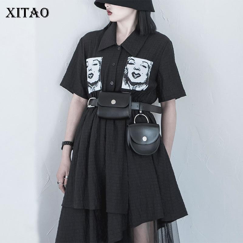 XITAO Pleated Print Pattern Cummerbunds Fashion New Women 2020 Summer Metal Clasp Design Sense Elegant Style Cummerbunds DMY5098