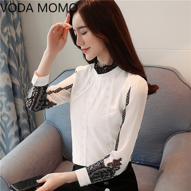 offlce long sleeve women's shirt blouse for women blusas womens tops and blouses lace chiffon shirts ladie's top plus size 4