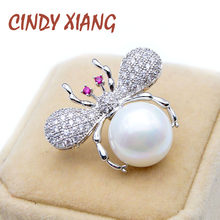 CINDY XIANG AAA Zircone Red Eye Ape Spille Per Le Donne Perla Spilla Insetto Piccolo Carino Pin Materiale di Rame Rosa Perla(China)