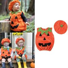 INS Popular 0-3t Halloween Costume For Kids Newborn Baby Boy Girl Pumpkin Tops Outfit Party Fancy Dress Clothes Cute Children