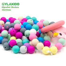 GYLAXIDO 40Pcs 12mm Siliconen Kralen Beads Round Perle Silicone Dentition Beads For Jewelry Making