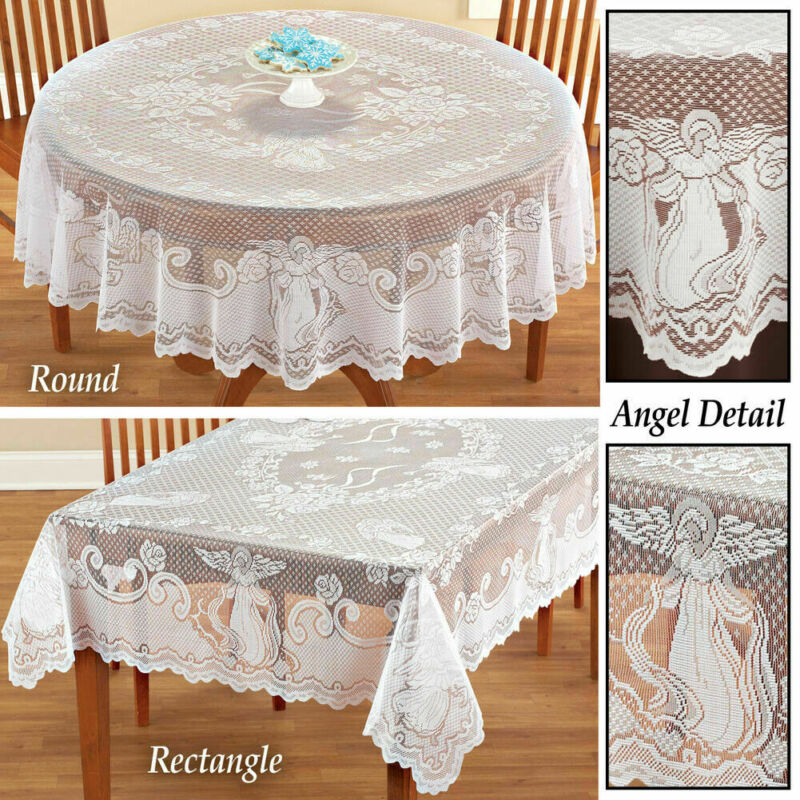 Super Promo F61c Vintage Angel Lace Tablecloth Rectangle Round Table Cloth Cover Home Party Decor Christmas Angel Tablecloth Cicig Co