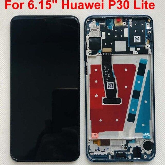 """Rama + oryginalny dla 6.15 """"Huawei P30 Lite MAR LX1M 24MP 48MP MAR LX2J ekran LCD + Panel dotykowy Digitizer montaż części"""