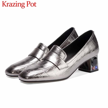 Krazing Pot simple style plus size print genuine leather loafers shoes square toe med heel slip on daily wear women pumps L89