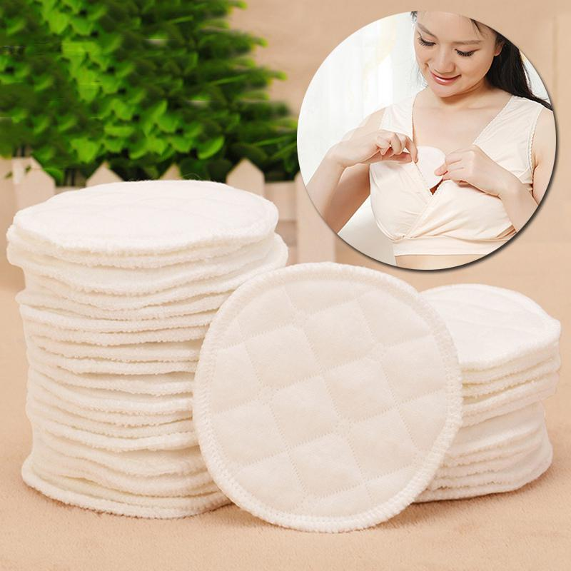 Reusable Nursing Breast Pads Washable Soft Absorbent Baby Breastfeeding Waterproof Breast Pads 3layers Pure Cotton