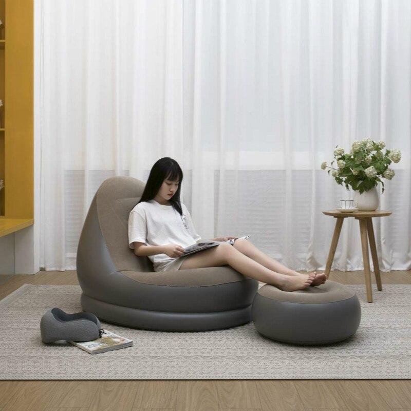 Portable Infaltable Air Sofa Bed Sleeping Bag Inflatable Air Bag Lazy bag Beach Sofa Furniture Garden Inflator Sofa Outdoor