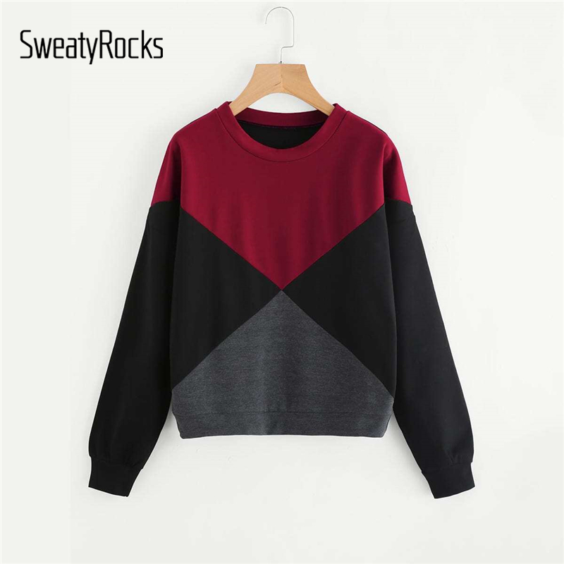 SweatyRocks Color Block Sweatshirt Women Long Sleeve Tops 2019 Autumn Round Neck Active Pullovers Casual Multicolor Sweatshirt