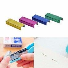 Горячая Распродажа, 1 упаковка, 10 мм, креативные цветные скобы из нержавеющей стали, канцелярские принадлежности, опт, низкая цена(упаковка 800