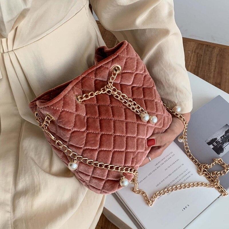 Elegant Female Plaid Bucket Bag 2019 Fashion New High Quality Velvet Women's Designer Handbag Pearl Chain Shoulder Messenger Bag
