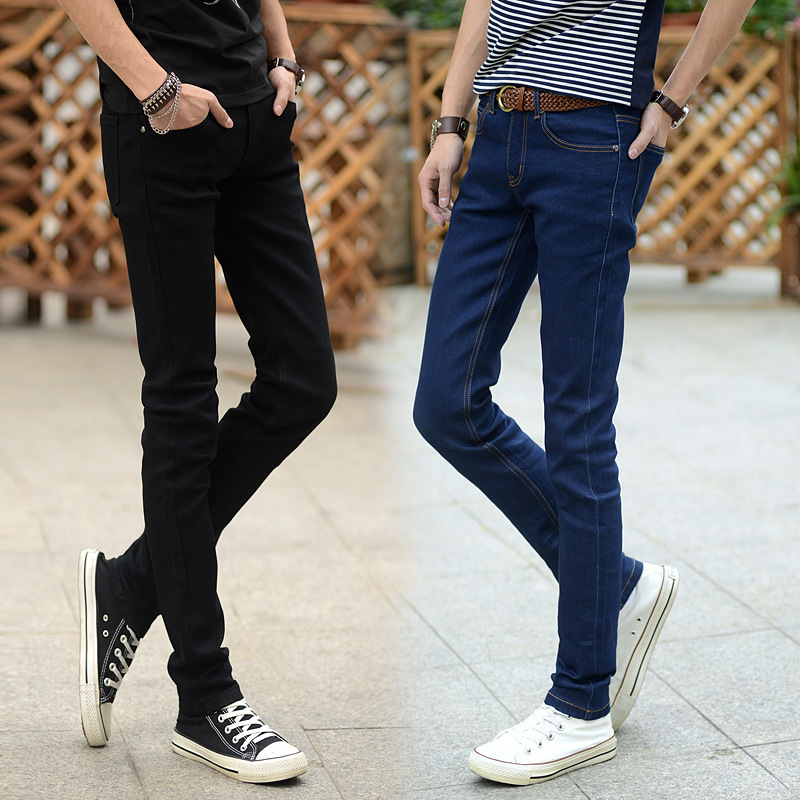 Jeans Men's Hot Selling Korean-style Spring And Autumn Trend Two-color Men's Elasticity Slim Fit Pants Cowboy Trousers