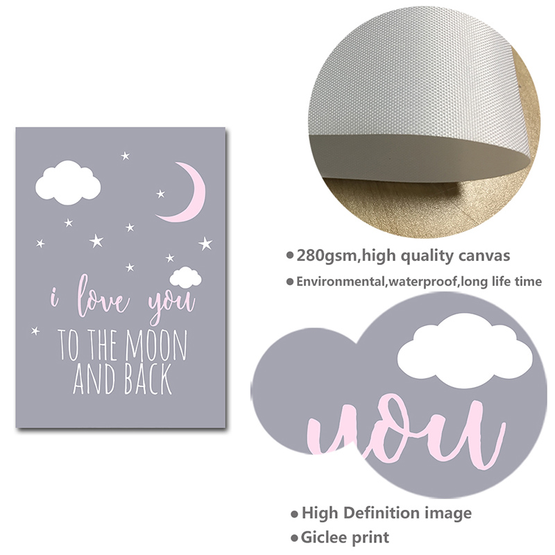 H6be263979c694992b2e798711189c62c1 Unicorn Canvas Poster Baby Girl Nursery Quotes Wall Art Print Love You to the Moon Painting Nordic Kids Room Decoration Picture