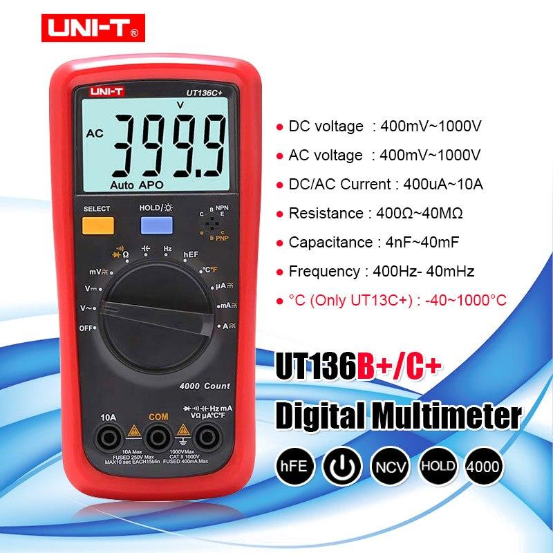 UNI-T UT136B +/UT136C + multímetro tester AC DC Voltímetro Amperímetro Ohm Multímetro Digital capacitância HFE Diodo/transistor tester