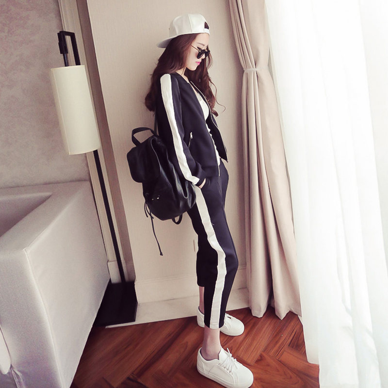 Rome Fabric Spring And Autumn New Style Casual Sports WOMEN'S Suit Autumn Loose-Fit Korean-style Fashion Hoodie Trousers Two-Pie
