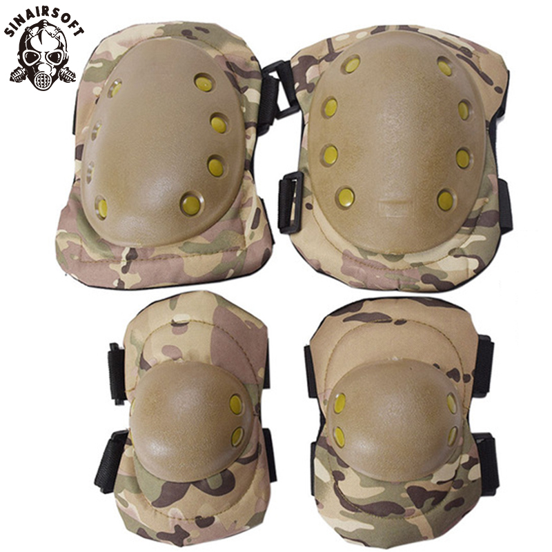Tactical Protective Brace Protector Knee Pads Elbow Pads Set Combat Airsoft Protective Pads Multicam Genouillere Sport Injury