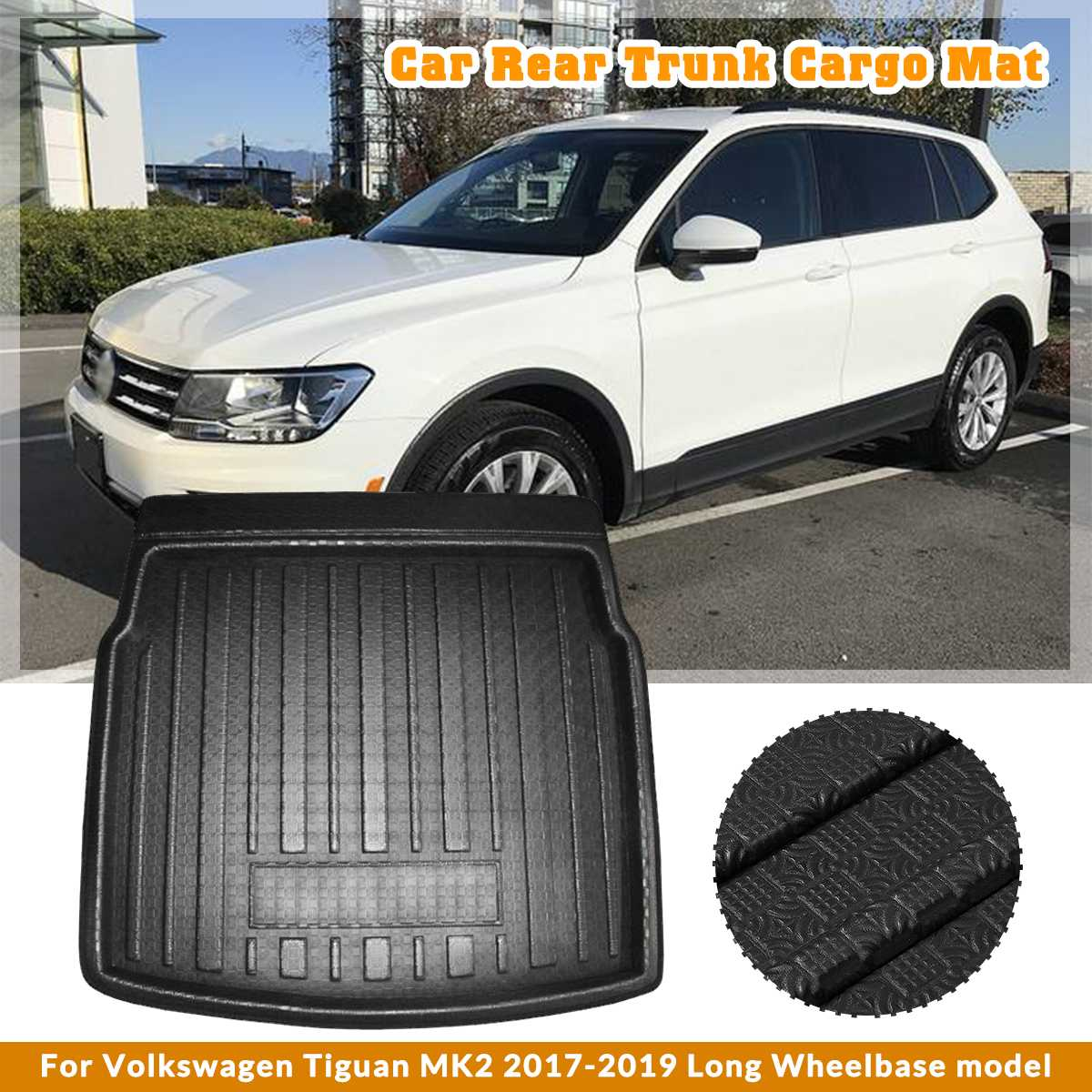 Car Cargo Liner Boot Tray Rear Trunk Cover Matt Mat Floor Carpet Kick Pad For Volkswagen For VW Tiguan MK2 2017 2018 2019