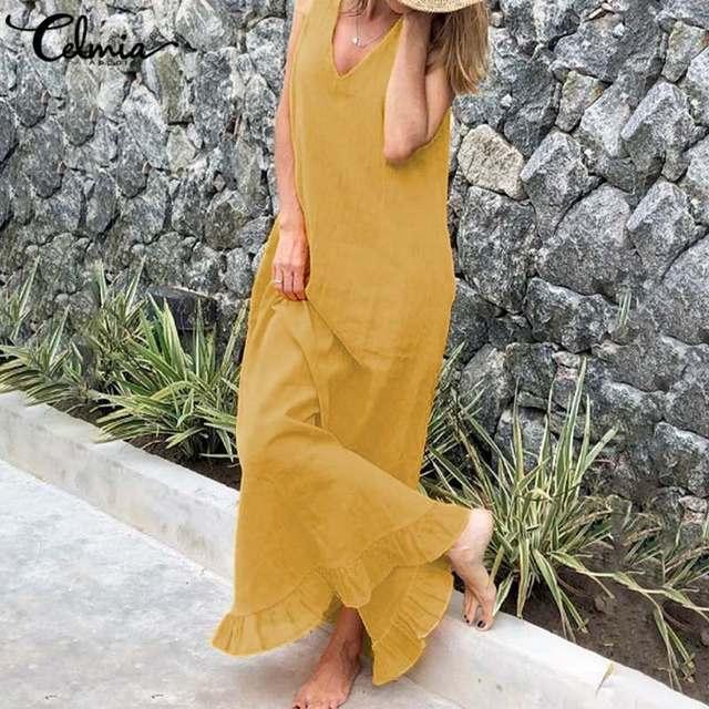 Celmia Women Maxi Sundress Bohemian Sexy V neck Summer Dress Sleeveless Casual Loose Linen Long Shirt Ruffles Vestidos Robe 5XL