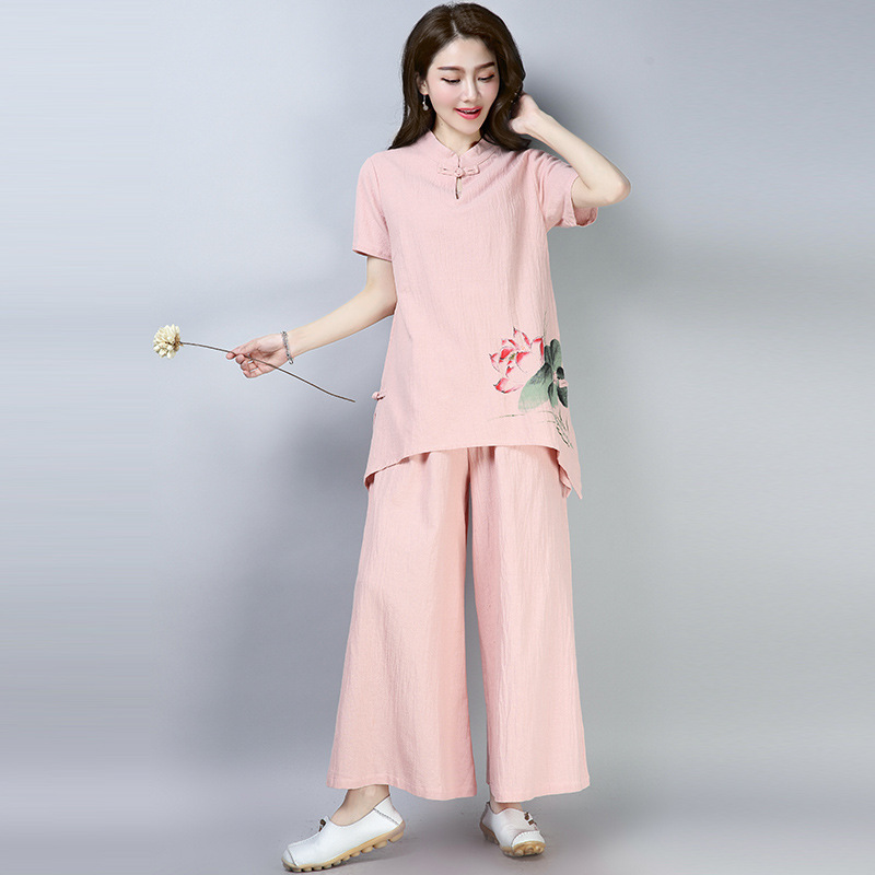 2019 New Style Ethnic-Style Women's Chinese Style Cotton Linen Meditation Clothing Set Hand-Painted Lotus Zen Tea Serving Lay Cl