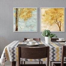 Nórdico Vintage dorado abstracto árbol rico lienzo cuadrado paisaje póster pared arte Cuadros para decoración de sala de estar Cuadros