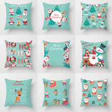 Pillowcase 45 * 45CM Christmas cartoon pattern printed pillowcase Polyester pillowcase Home decoration pillow cushion cover pillow cover christmas snow man home decoration