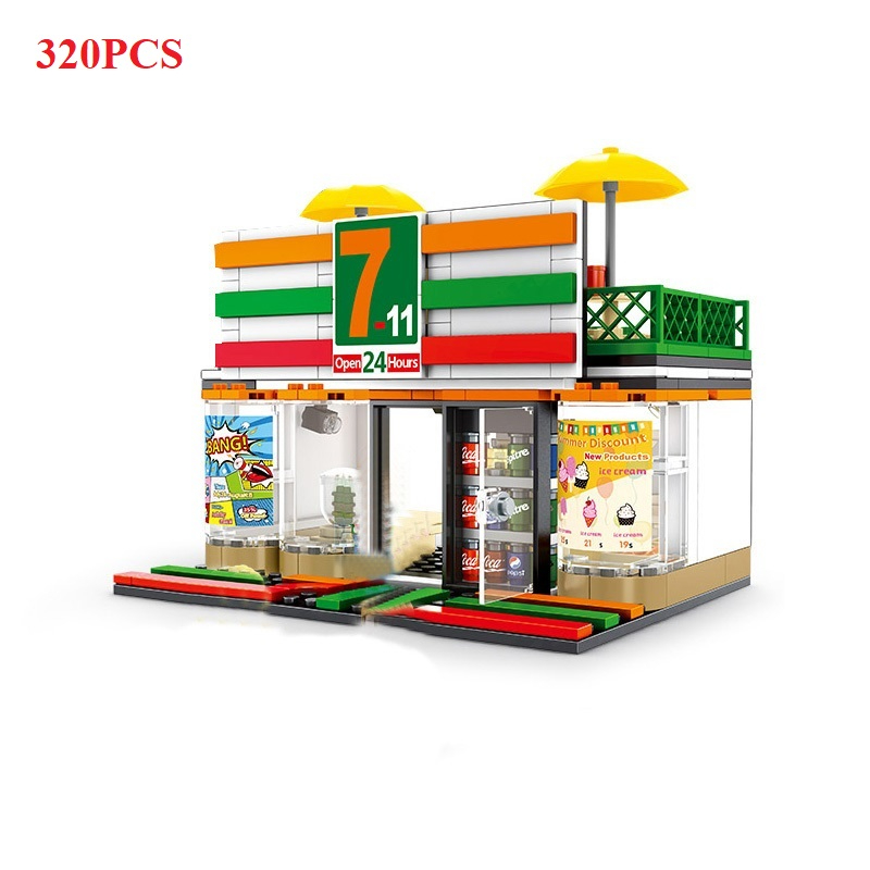 Image 5 - 280+ PCS Mini City Street View Building Blocks Coffee Shop Hamburger Store City Diy Bricks Toys For Children Christmas GiftsBlocks   -