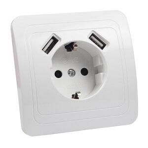 Image 3 - 2019 neue stil USB Steckdose Kostenloser versand Doppel USB Port 5V 2A pared outlet electrique outlet usb murale steckdose FB 01