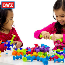 QWZ Soft Building Blocks kids DIY Pop Squigz Sucker Funny Silicone Block Model Construction Toys Creative Gifts For Children Boy(China)