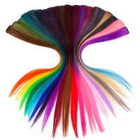 Xnaira Afro kolorowe pojedyncze klipsy w jednym kawałku Rainbow Halo do przedłużania włosów długie Ombre różowe proste wyróżnij włosy syntetyczne