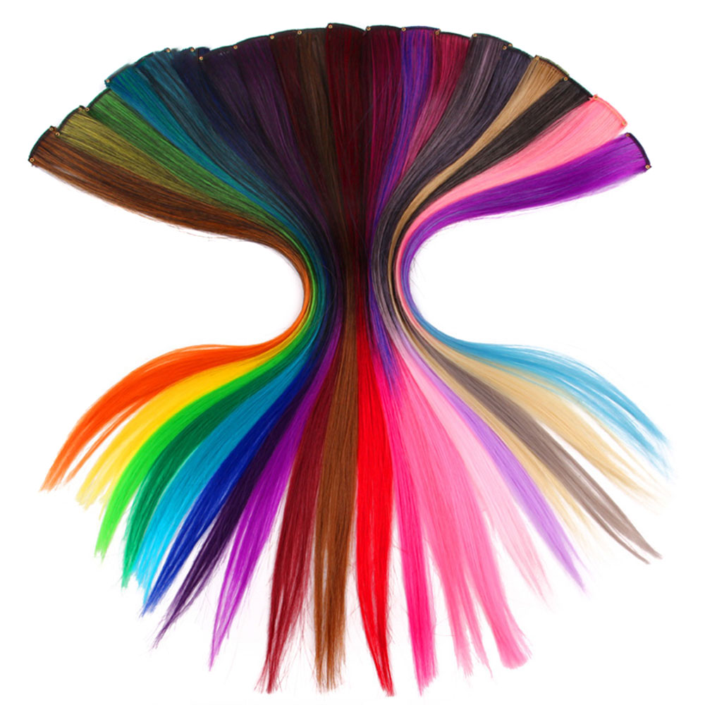 Xnaira Afro Colored Single Clip In One Piece Rainbow Halo Hair Extension Long Ombre Pink Straight Highlight Synthetic Hair Piece